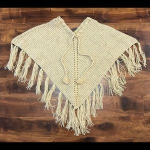 Chunky Knit Shawl Poncho Coverup Sandy Tan